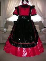 Amazing Red Pvc Long Adult Sissy Maids Dress With Black Apron Size Xxl