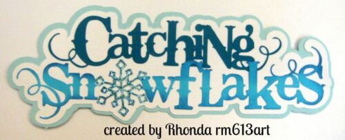 Catching Snowflakes winter paper piecing title premade scrapbook page by Rhonda