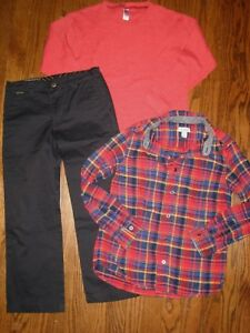 fbef638598d2e lot 7-8 boys Quiksilver pants Cat & Jack button down shirt top 3 pc ...