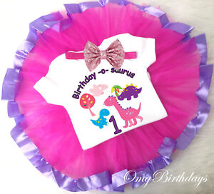 Image Is Loading Pink Purple Dinosaur Cute Dinos 1st First Birthday
