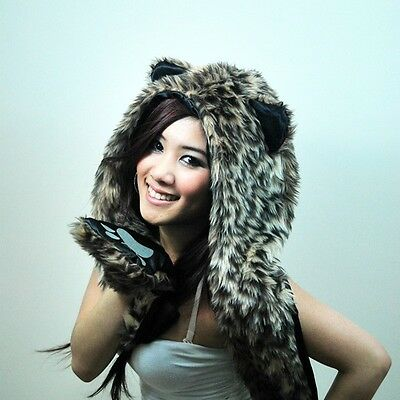 Faux Fur Winter Hat Animal Wolf Hood Scarf Gloves Ladies Girls Mens Xmas Spirit