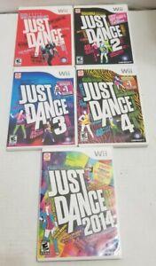 Just-Dance-1-2-3-4-2014-Nintendo-Wii-5-Game-Set-Lot-Bundle-Complete-w-Manuals