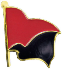 """1"""" Black and Red Anarchy Flag Lapel Pin"""
