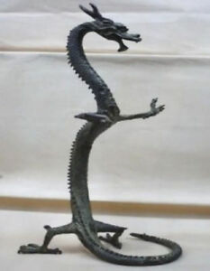 Antique-Chinese-Fengshui-Standing-Dragon-Bronze-Loong-Success-Statue-Figures-BIG