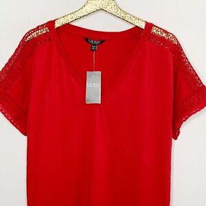 Lauren-Ralph-Lauren-Womens-Top-Majaji-Crochet-Short-Sleeves-V-Neck-Red-Size-XL