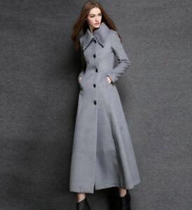 longue Manteau pour cérémonie en de A5 avec mélangée boutons Jacket Robe laine femmes Chic Outwear qExpaHBn