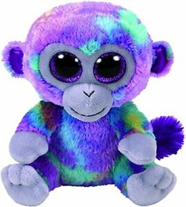 "Ty Beanie Babies Zuri The Purple Big Eyes Monkey Reg Toy Doll Puppet 6/"" Regular"
