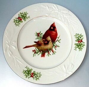 Lenox winter greetings accent luncheon plate cardinal male female image is loading lenox winter greetings accent luncheon plate cardinal male m4hsunfo