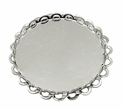 5 Brass Cabochon Settings Round Bezel Silver 25mm inner 29mm outer