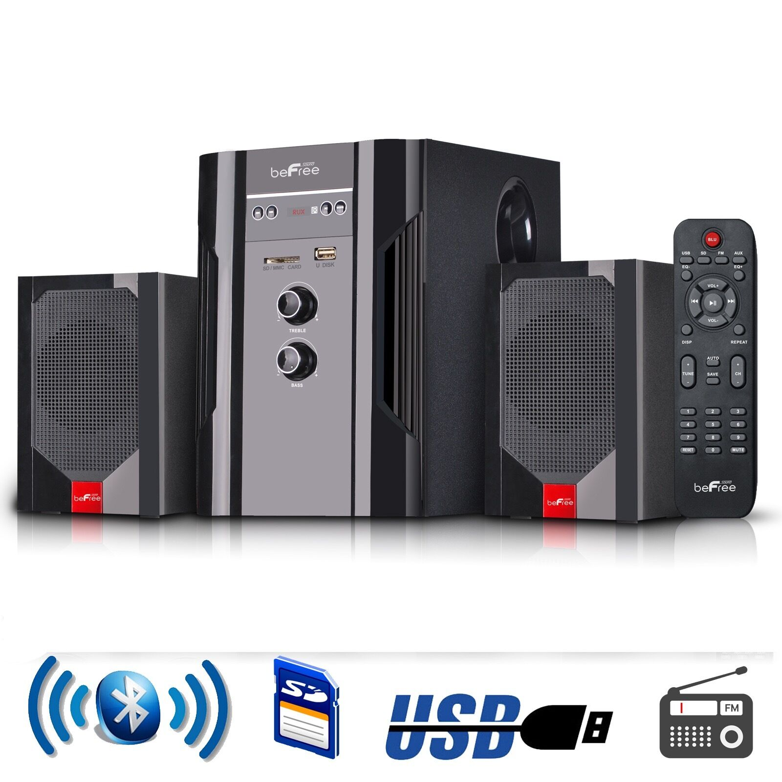 befree sound 2 1 channel surround sound home theater. Black Bedroom Furniture Sets. Home Design Ideas