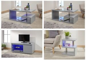 Details About Polar Modern Grey High Gloss With Led Light Coffee Table Tv Unit Lamp Table