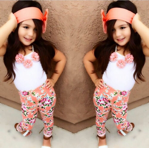 UK Stock Summer Toddler Kids Girls Casual Tops T-shirt Floral Pants Outfits Set