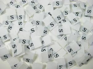 100Pcs White Taffeta Woven Clothing Letter Size Tab Tag Label Number 9 NINE