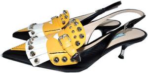 94a02a180957b9 Image is loading Prada-Studded-Fringed-Leather-Slingback-Pumps-Black-Kiltie-
