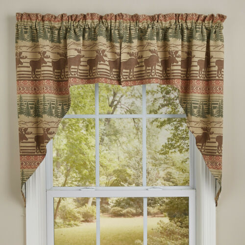 """1 Pair Moose Jacquard Forest Rustic Cotton Unlined Window Swags 72/"""" x 36/"""""""