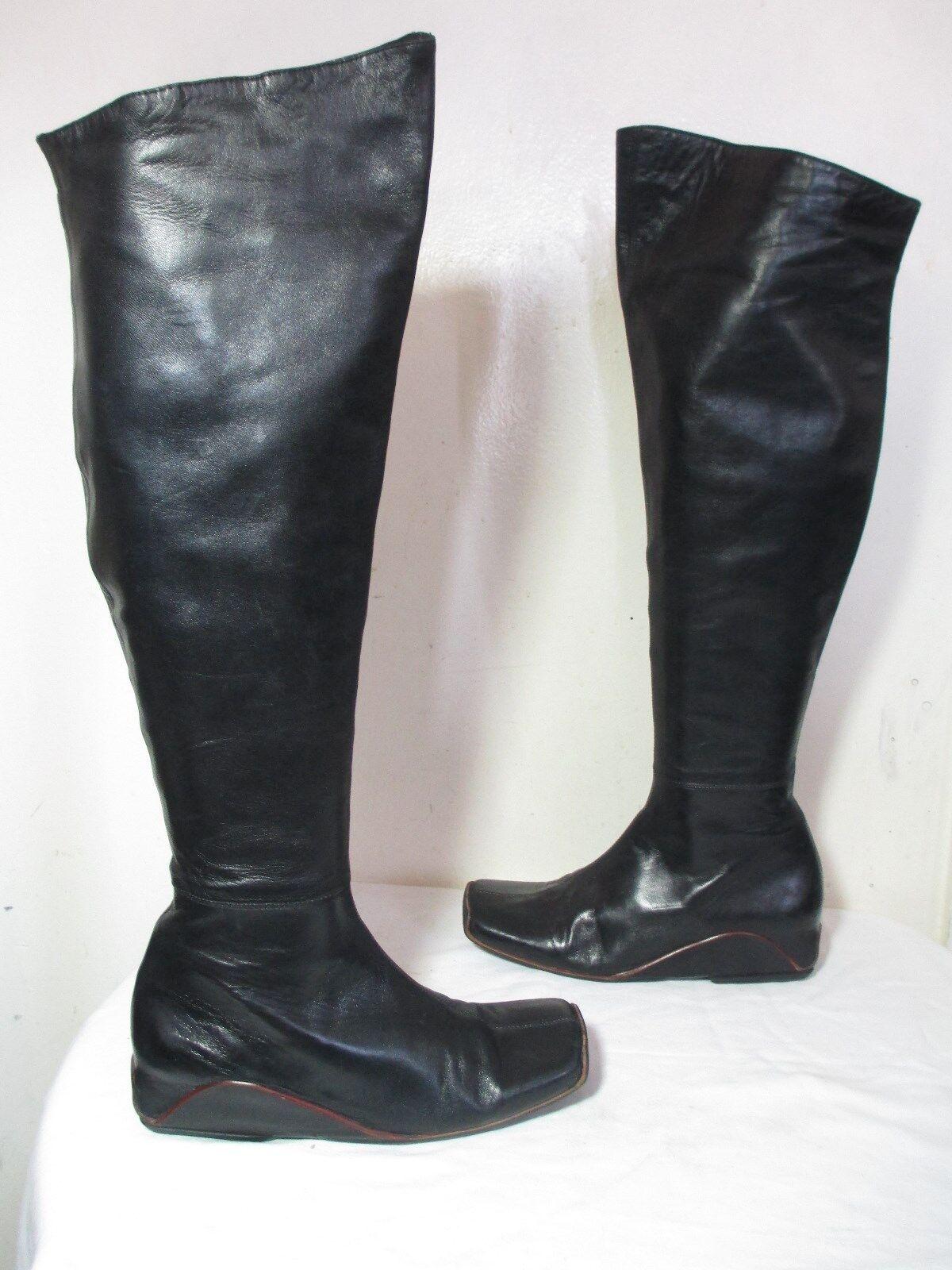 ROBERT CLERGERIE BLACK SOFT LEATHER FASHION KNEE KNEE KNEE HIGH HIDDEN WEDGE BOOTS 6½ B b235fb