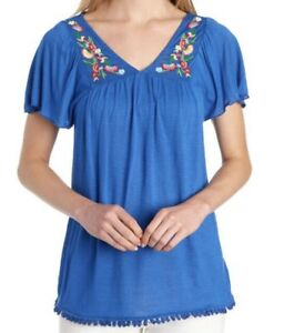 Vintage-America-Womens-Embroidered-Top-Blue-Shirt-L-NWT