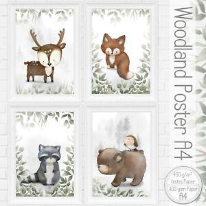 A4-Kinderzimmer-Bilder-Set-Waldtiere-Tiere-Reh-Fuchs-Babyzimmer-Poster-45-A4