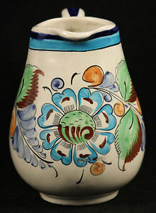 Vintage Mexican Ceramic Pitcher Hand Made/Painted Folk Art Mexico Itnialed CAT