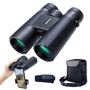 12x42 Roof Prism Binoculars for Adults, Portable and Waterproof Compact with Low
