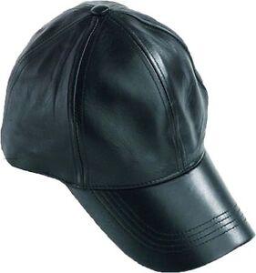 976fa8cf1ff Men s Baseball cap Leather Hat Head wear Black Leather baseball cap ...