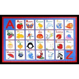 Childrens Blue Alphabet Area Rug 5x7 Great For Bedroom