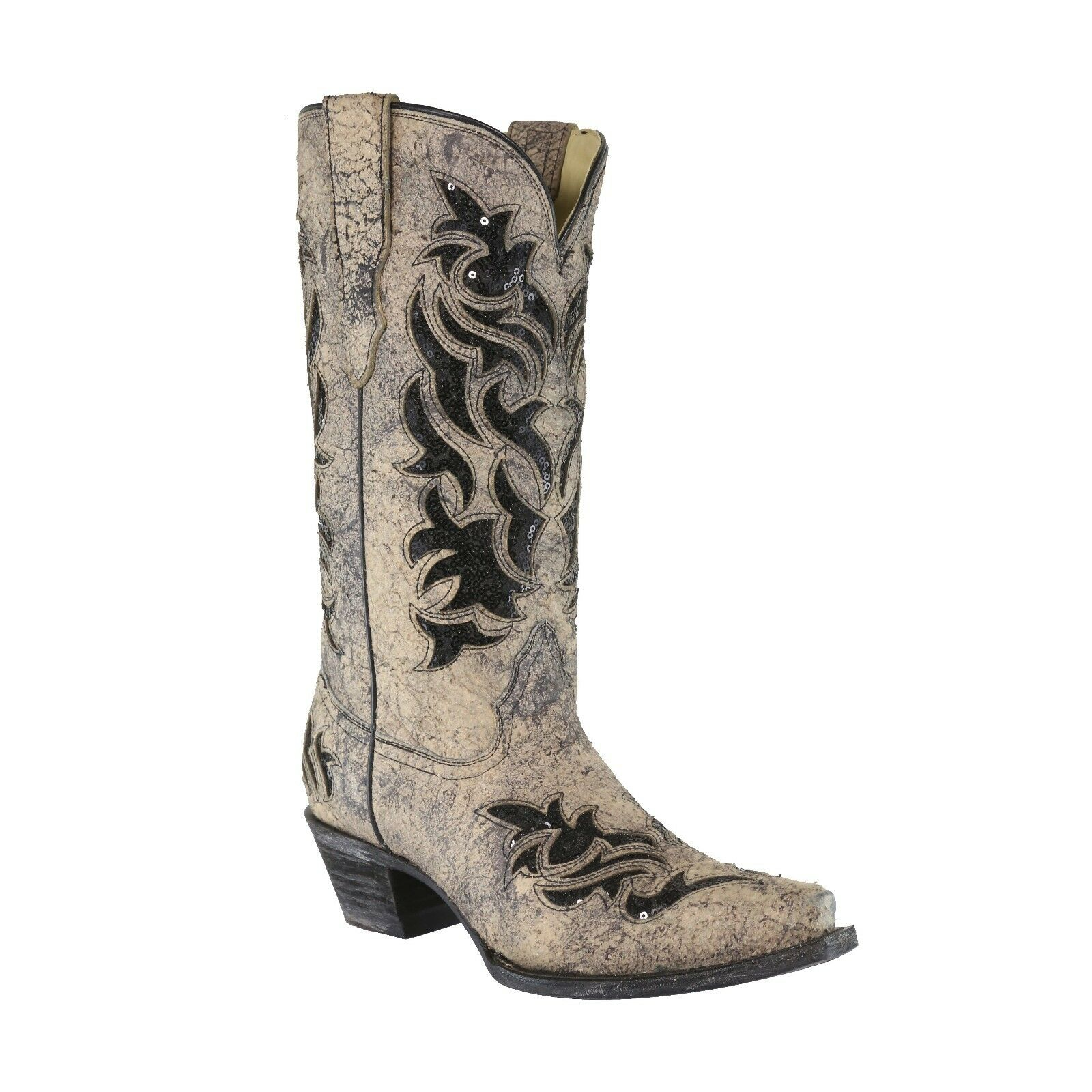 Corral Ladies Bone/Black Glitter Inlay Boot E1237