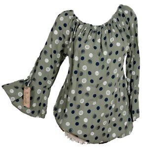 Damen Bluse Shirt Tunika Oberteil Hems kutzarm Top Tops Sommer Carmen36 38 40 42