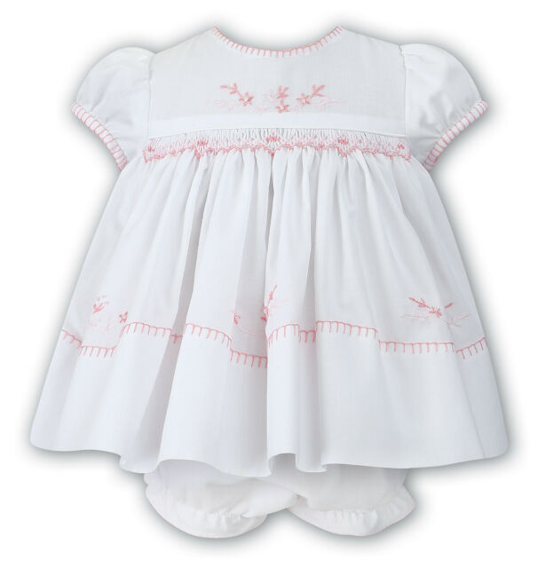 4030d519b5b NWT Sarah Louise Baby Girls White Pink Smocked Dress 18M 18 M   Ruffle  Bloomers