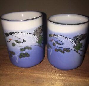 2-Fine-Porcelain-Blue-Hand-Painted-Crane-Japanese-Sake-Teacups