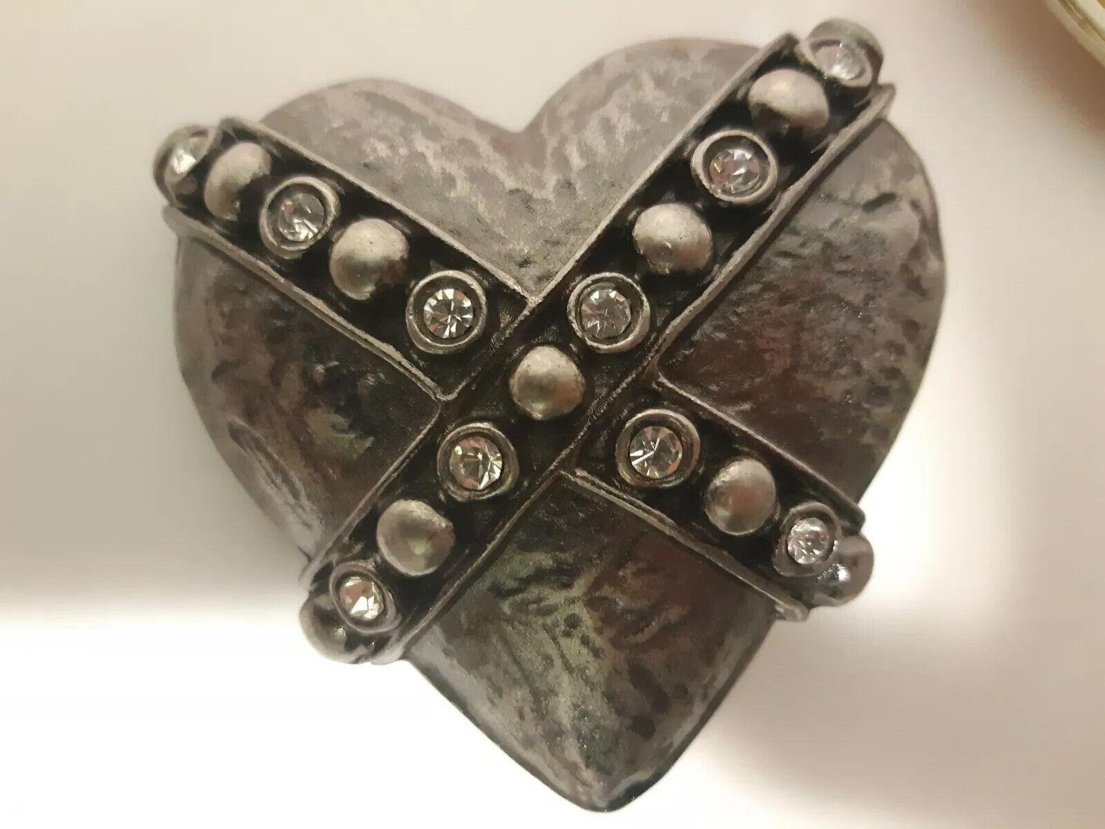 Belt Buckle Heart Silver Plated Rhinestones