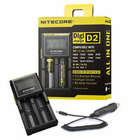 Nitecore D2 Digi Charger For 18650 14500 16340 10400 Aa Aaa C W/ 12v Car Adapter