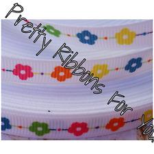 "Flowers on white 1/4""  6mm wide grosgrain ribbon 10 yards listing"