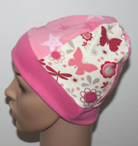 Kinder Mädchen  DaWanda Schmetterlinge Blumen Sterne Mütze Beanie rosa