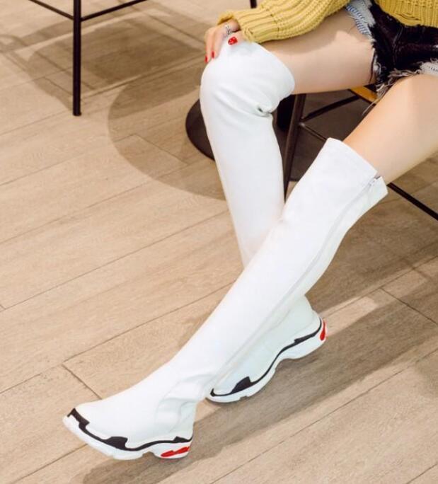Femmes Fermeture Éclair au-dessus Du Genou Bottes Baskets Chaussures Derbies Loisirs Cuir Blanc Chaussures