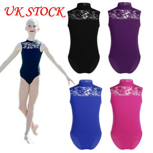 de2642c29bf3 UK Kid Girl Ballet Gymnastics Dance Leotards Lace Mock Neck Bodysuit ...