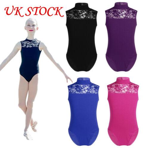 UK Kid Girl Ballet Gymnastics Dance Leotards Lace Mock Neck Bodysuit Dance wear