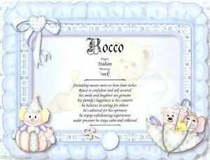 Blue Babys Pilllow Personalized Name Meaning Baby Shower Wall