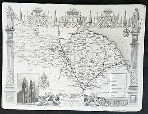 1836-Thomas-Moule-Original-Antique-Map-of-The-County-of-Yorkshire-NR-England