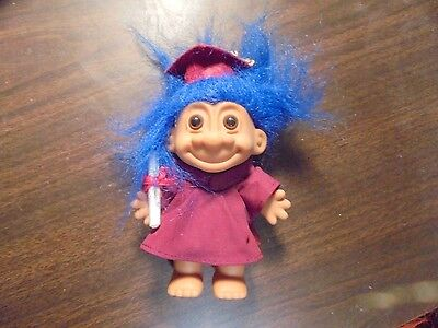 Russ Quot Burgundy Gown Graduate With Blue Hair Quot Troll Doll 5