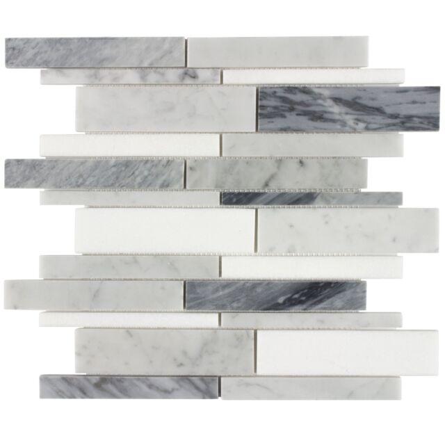 Classic Linear Blue Grey White Stone Mosaic Tile Backsplash Kitchen Wall Mto0200 For Sale Online Ebay