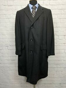 VTG-SEARS-Fashion-Tailored-44R-Men-039-s-Black-Houndstooth-Wool-Topcoat-Coat
