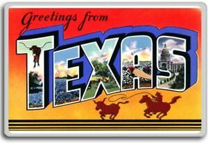 Greetings from texas vintage 1940s postcard fridge magnet ebay image is loading greetings from texas vintage 1940s postcard fridge magnet m4hsunfo