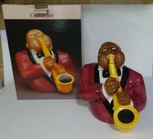 Details about Clay Art ' The Jazz Player ' Black Americana Saxophone Player  Cookie Jar MIB