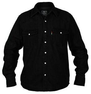 Big-Kingsize-New-Mens-Duke-Western-Long-Sleeve-Black-Denim-Jean-Shirt