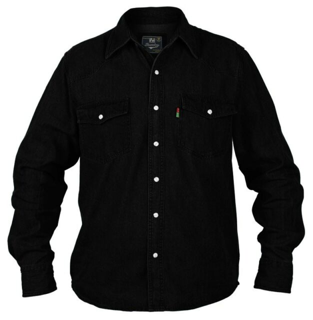 cefe6e70cba Duke London Mens King Size Big Tall Long Sleeve Western Denim Shirt ...