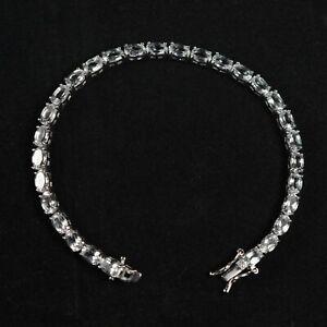 6x4mm-Oval-Natural-White-Topaz-Gemstone-925-Sterling-Silver-Tennis-Bracelet
