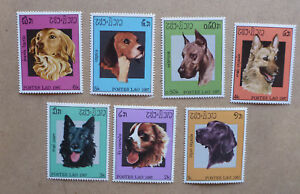 1987-LAOS-DOGS-SET-OF-7-MINT-STAMPS-MNH