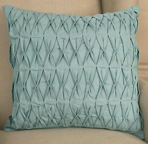 Decorator Cushion Cover 45x45cms Ruched Duck Egg Blue Throw Pillow BRAND NEW