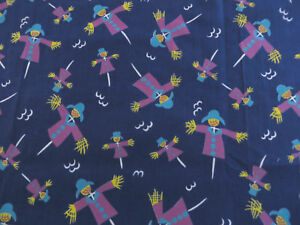 BTY-100-Cotton-SCARE-CROWS-All-Over-Print-Pattern-Dark-Blue